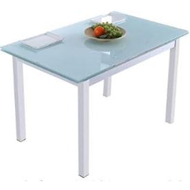 mesa extensible de cristal. mesa de comedor extensible de vidrio y metal. Mesa extensible de comedor con estructura de acero blanco y sobre de cristal translucido.