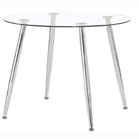 Mesa redonda de cristal y acero para el comedor.