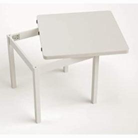mesa comedor madera extensible tipo libro de color blanca. Mesa comedor cuadrada blanca.