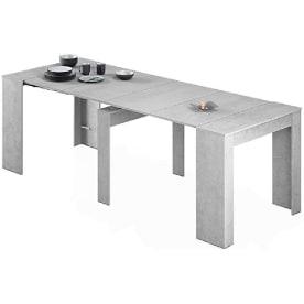 mesa comedor gris claro. mesa comedor extensible de color gris.