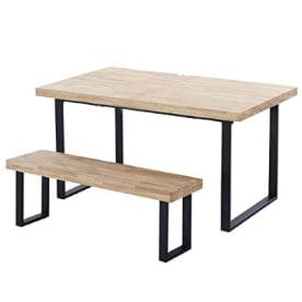 Conjunto de mesa comedor industrial con banco de estilo industrial a juego.