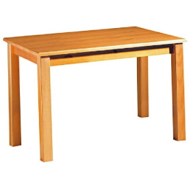 mesa comedor rústica de madera maciza de pino color miel.