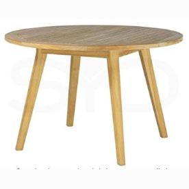 mesa de madera maciza de teca para el salon comedor. Mesa redonda de teca.