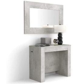 mesa consola y comedor color cemento moderna con espejo a juego