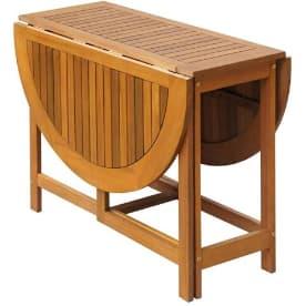 mesa comedor acacia redonda: mesa plegable extensible de alas abatibles