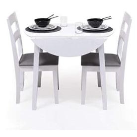 mesa redonda 90 cm extensible ...  Conjunto de mesa comedor redonda extensible barata con sillas