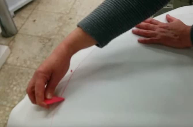 02 - Dibujar el patron de la falda camilla ovalada en el papel