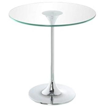 mesa velador de cristal y acero cromado con un estilo clásico tradicional moderno.