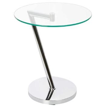velador de vidrio con un diseño moderno. Pie y base de acero cromado