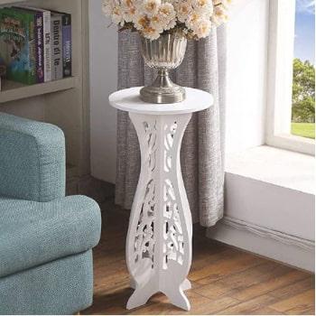 velador redondo blanco. mesa velador blanca