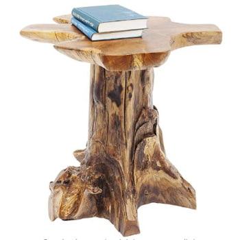 mesa de tronco de arbol para colocar plantas