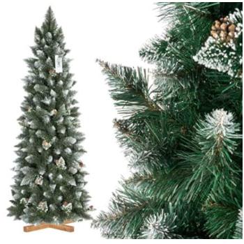 árbol navideño tipo slim: estrecho, nevado y frondoso.