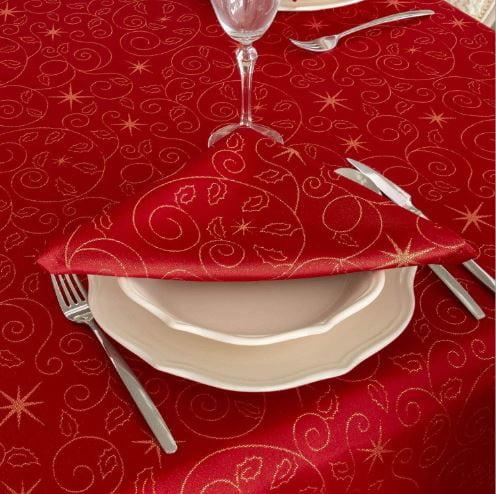 fotografía de los manteles rojos para navidad con servilletas navideñas a juego