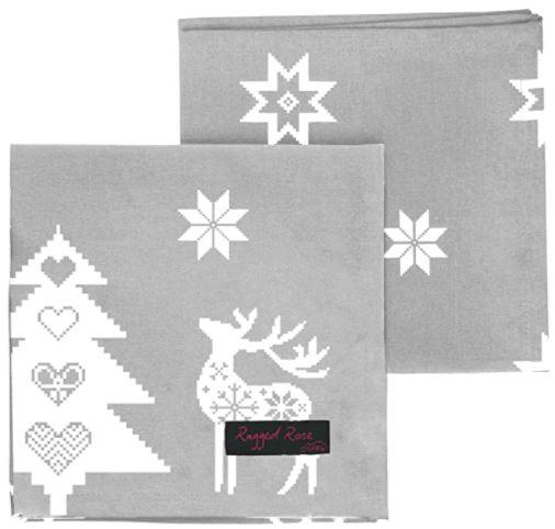 servilletas para el manter de navidad gris plata y blanco