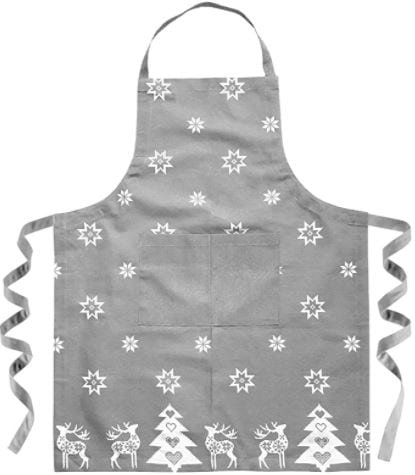 delantal de la colección navideña gris y blanco con motivos de navidad