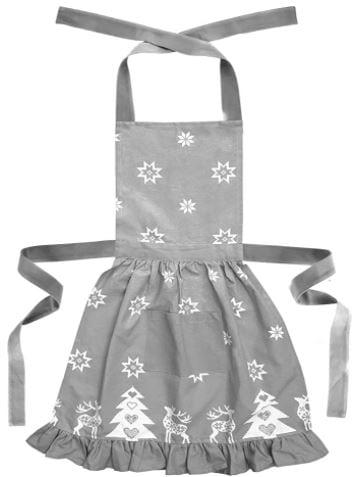 modelo 2 de delantal de cocina a juego con el mantel navideño