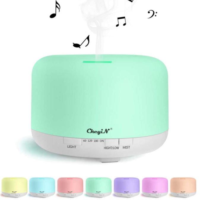 Difusor de aceite esencial humidificador con reproductor de música y Bluetooth. Difusor de aromas para spa, yoga, oficina, etc. Compatible con Apple y Android de Google.