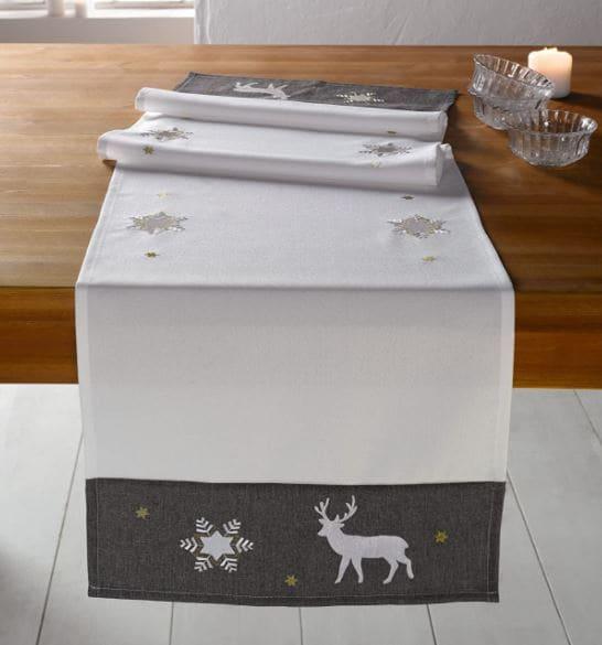 camino de mesa blanco para la navidad