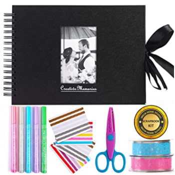 Kit scrapbooking con álbum de recortes + materiales y accesorios