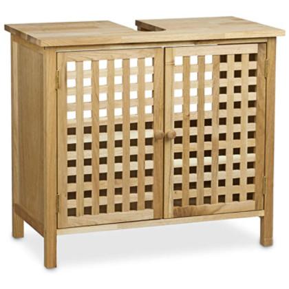 mueble de madera de nogal para debajo del lavamanos.