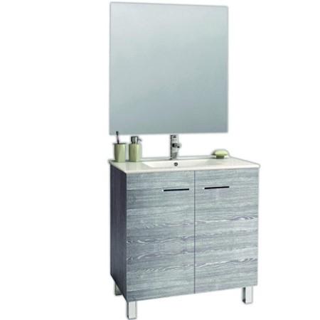 Mueble de baño con lavabo y espejo barato y muy bonito.