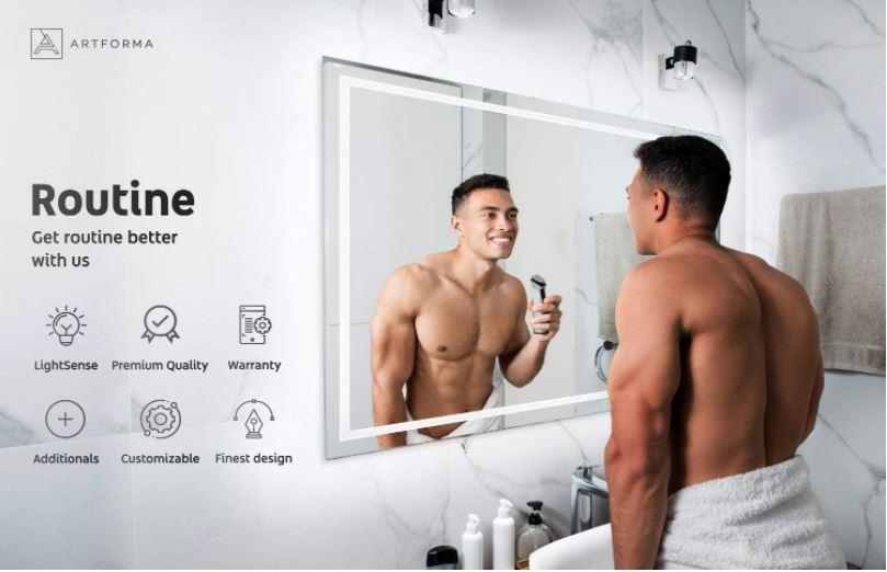 Espejos con luz de baño profesionales de gran calidad.