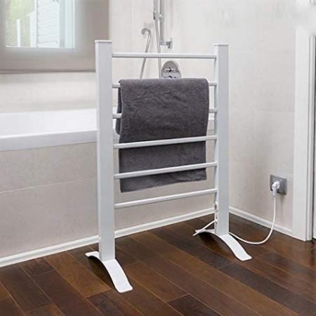 Imagen de muestra del radiador toallero de pie eléctrico blanco.