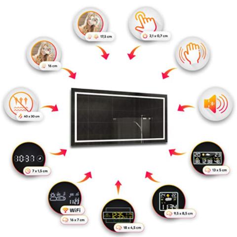 Espejos modernos con luz, altavoces y mucho más para el cuarto de baño. Funciones para espejo de gama alta.