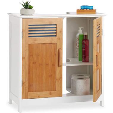 mueble bonito para debajo del lavabo fabricado con madera.