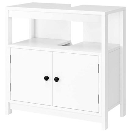 Mueble moderno bajo lavabo de color blanco con patas.