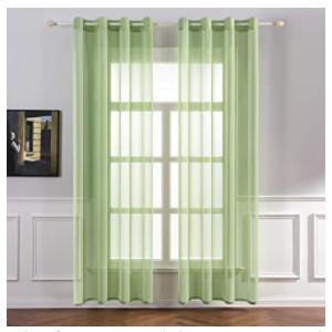 visillos de color verde para decorar salones y cocinas.