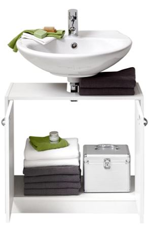 Mueble bajo baño con puertas de armario abiertas para ver el interior del mueble.