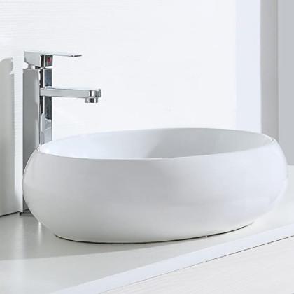 Lavabos ovalados de diseño para poner encima de la encimera.
