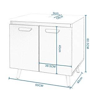 ilustración con las medidas del armario bajo lavabo.