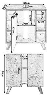 distribución de espacios y medidas del mueble bajo lavabo.