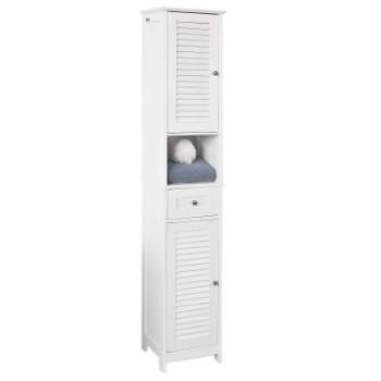 mueble armario de baño alto con patas, estante, puertas y cajón.