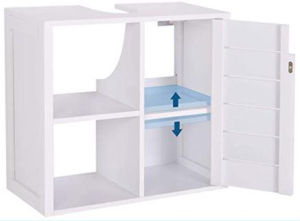 Mueble bajo lavabo con puertas de armario abiertas para ver el interior.