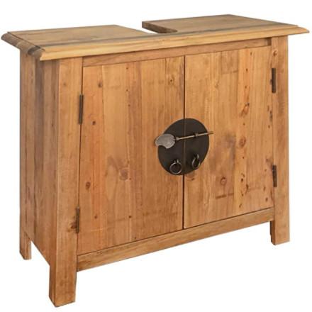 Mueble para el cuarto de baño de madera de pino reciclada para el lavabo.