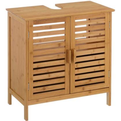 mueble bajo lavamanos hecho de madera de bambú.
