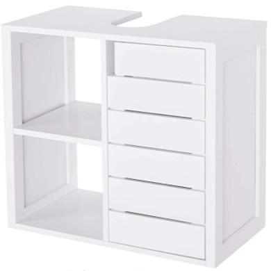 Muebles bajo lavabo de color blanco.