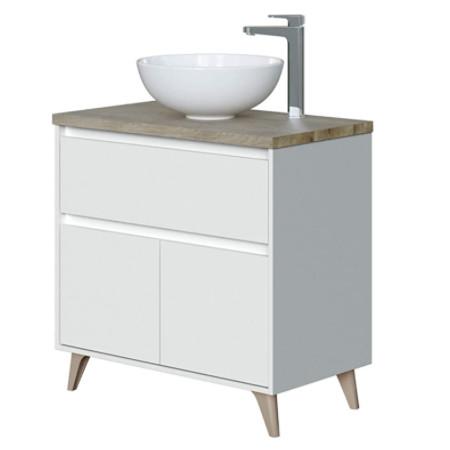 mueble de baño con lavabo sobre encimera vintage con patas y barato.