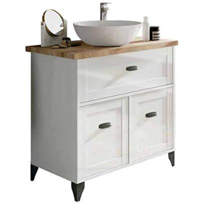 Mueble baño vintage con lavabo con patas. Blanco.