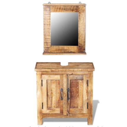Mueble bajo lavabo con espejo fabricado con madera de mango maciza natural.