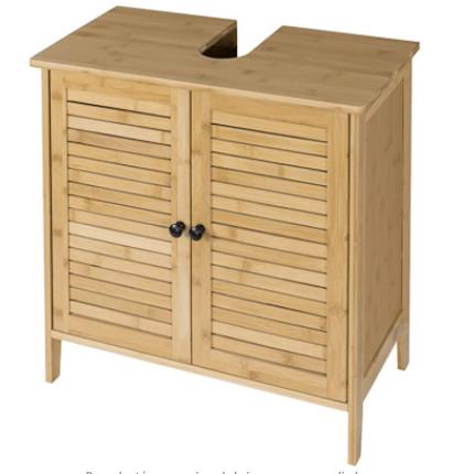 Mueble de aseo para poner debajo del lavamanos fabricado con madera de Bambú.