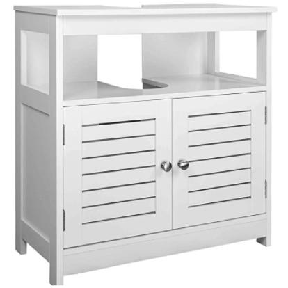 Mueble bajo lavabo de color blanco con patas con armario.