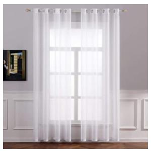 Visillos largos blancos para puertas y ventanas.