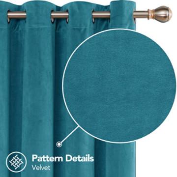 cortina aterciopelada de color turquesa ideal para decorar salones y dormitorios.