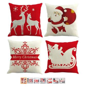 conjunto de cojines navideños rojos para navidad.