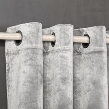 Comprar cortina de terciopeli gris plata barata.