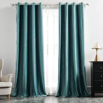 cortinas de terciopelo turquesa de gran calidad para embellecer e salón dormitorio.